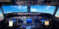 Cockpit pilot Flight Deck display. Throttle jet cabin with control panel plane. View in windows blue sky clouds