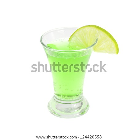 Cocktail alcoholic with a lime on the white isolated background