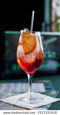 Cocktail Aperol. Aperol Spritz is an cocktail consisting of prosecco, aperitif and soda water. Beautiful orange cocktail.