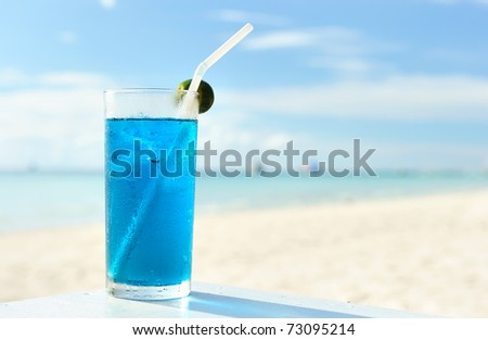 Cocktail at the beach,  shallow depth of field