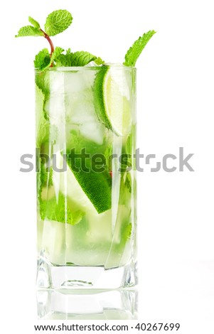 Cocktail collection: Fresh mojito isolated on white background. Ingredients: white rum, lime, mint, sugar and water - stock photo
