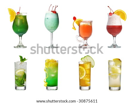 Cocktail Collection Isolated over White