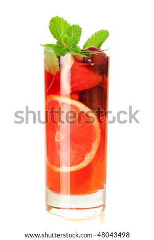 Cocktail collection: Refreshing fruit sangria (punch) isolated on white background