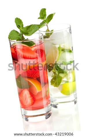 Cocktail collection: Strawberry and classic mojito isolated on white background