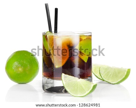 Cocktail Cuba Libre isolated on white background
