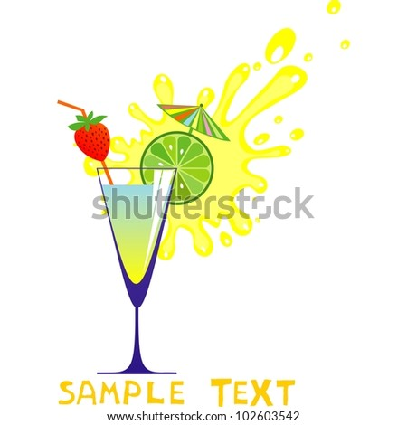 Cocktail drink. Silhouette isolated on White background. Drink Menu or Invitation for Parties and Showers. illustration