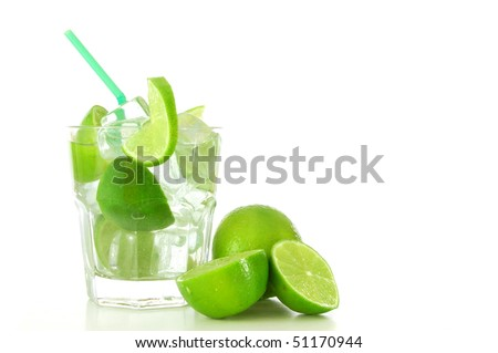 cocktail drink with lime like Caipirinha or mojito