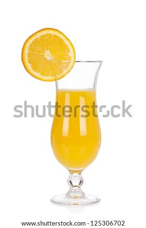 Cocktail glass set. Hurricane with orange juice and orange slice isolated on white background