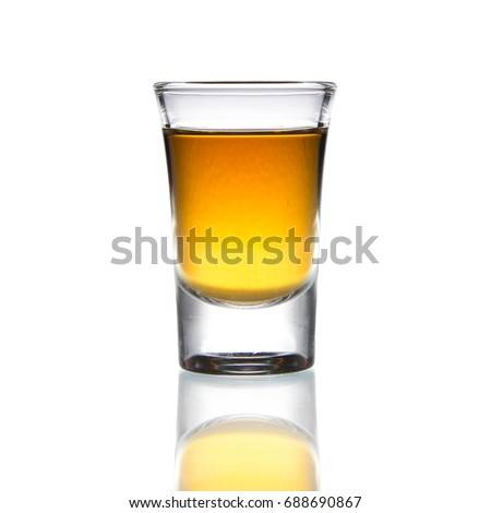 Cocktail Glass with brandy or whiskey - Small Shot. Isolated on white background #688690867