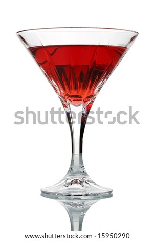 Cocktail glass with red juice isolated against white background