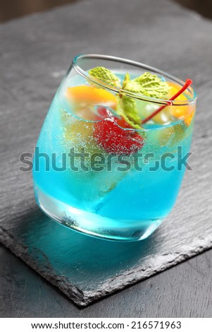 cocktail glass with the Blue Hawaii