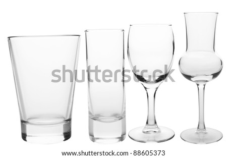 Cocktail Glasses collection - Shots isolated on white background