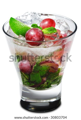 Cocktail - Grape Mojito with Lime and Fresh Mint