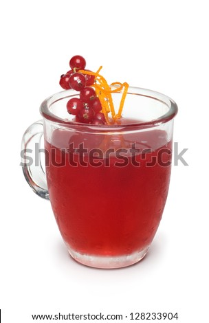 Cocktail in glass jar with currant berries and orange peel skin, isolated on white (with Clipping Path)