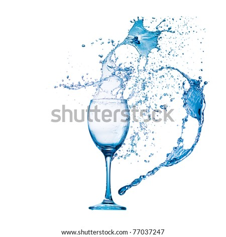 cocktail in glass with water splash