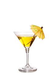 Cocktail in martini glass with umbrella