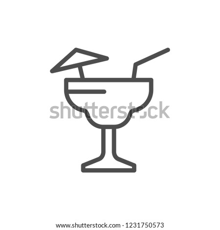 Cocktail line icon isolated on white