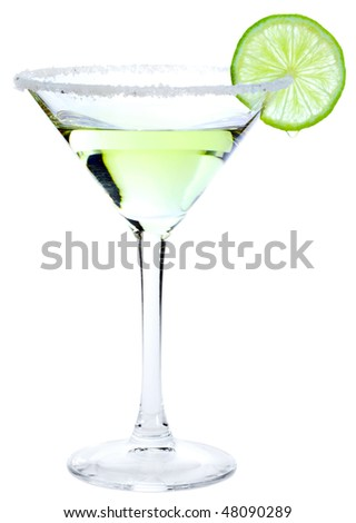 Cocktail Margarita with lime isolated on white