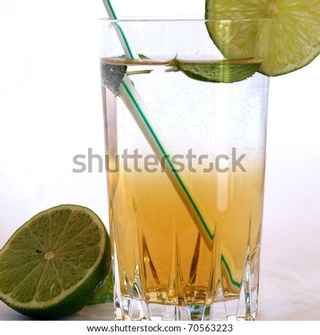 Cocktail mixed alcoholic drink with lime and peppermint