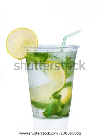 Cocktail mojito in plastic glass isolated on a white background