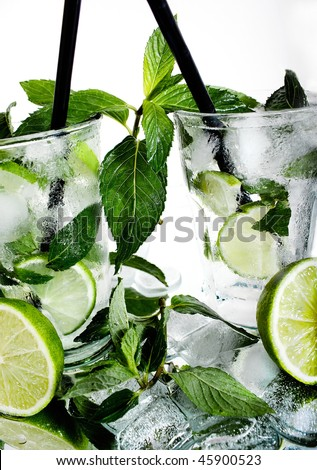 stock photo : cocktail mojito with mint and white rum.