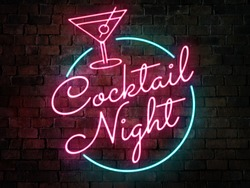 Cocktail night neon sign of a bar or pub agaisnt a rustic brick background. Cocktail or ladies drink promo concept.