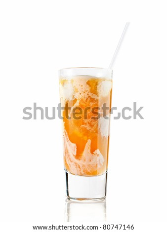 Cocktail of peach nectar and ice cream