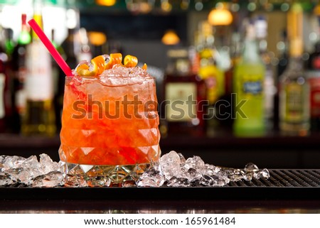 Cocktail on a bar counter top