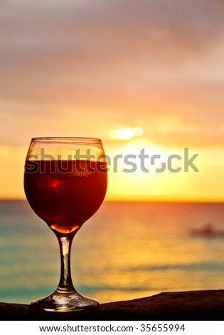 Cocktail on a Beach in Sunset Light