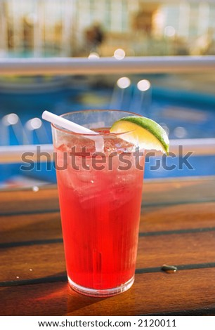 Cocktail on a cruise ship with pool behind