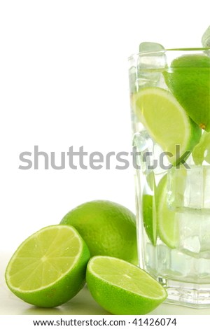 cocktail or lemonade with sliced lime fruit