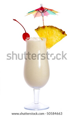 Cocktail Pina Colada isolated on white