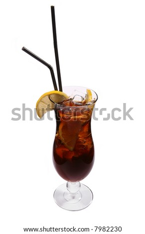 Cocktail Rum-cola with ice and lemon isolated on white background
