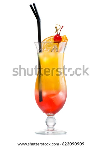 Cocktail sex on the beach, Isolated on white background