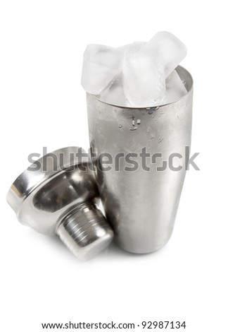 Cocktail shaker with ice isolated on white background