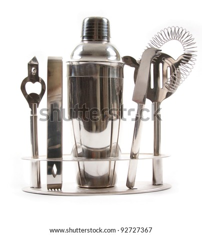 Cocktail shakers, strainer and jigger. Isolated on white background
