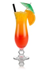 cocktail tequila sunrise in front of white background