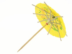 Cocktail umbrella against a white background