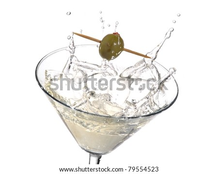 Cocktail with a olive splash
