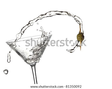 Cocktail with a olive up from a martini glass