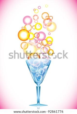 Cocktail with color bubbles