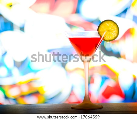 Cocktail with colurful background