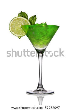 Cocktail with crushed ice and lime