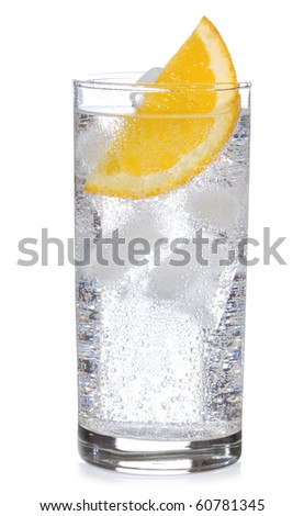 cocktail with gin and orange with ice on white background