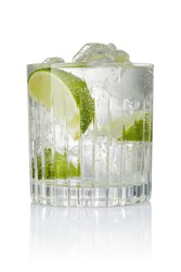 Cocktail with ice and lime slice isolated on white background