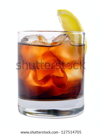 cocktail with ice cola whiskey on a white