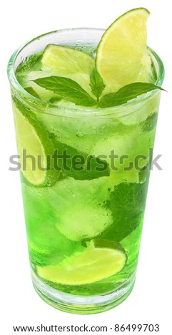 Cocktail with ice cubes on white background.