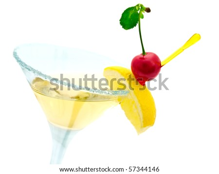 cocktail with lemon and cherry over white