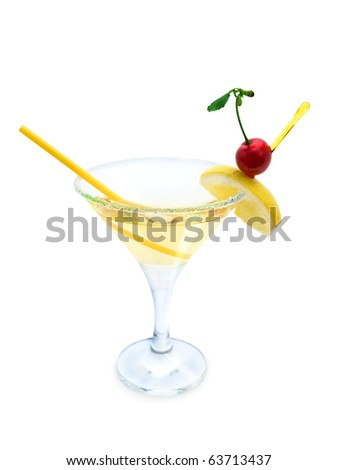 cocktail with lemon and cherry with clipping path