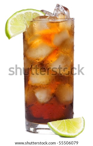 cocktail with lime and cola on white background